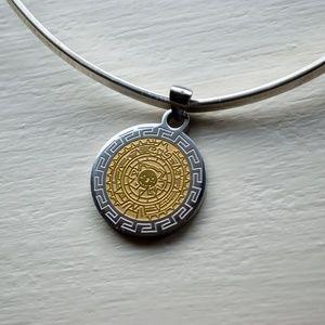 Aztec Calendar Medallion Collar Necklace, Fini